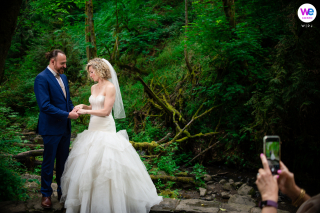 Portland Elopement Ceremony Image from Forest Park | The family looks on as they promise themselves to one another
