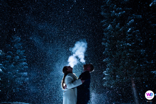 Vail, Colorado Wedding Photographers | the couple on their walk back to their hotel