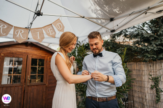 Backyard Garden Wedding in North Rhine-Westphalia Image | During their garden ceremony, they took off their wedding rings
