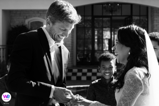 Arambrook Boutique Hotel Wedding Pics - Cape Town, South Africa | A tough moment during the ring exchange