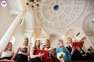 Wedding Ceremony Photo of the family singing Chapel hymns together