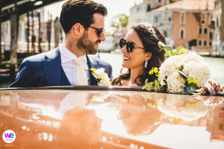 Wedding Photography at Palazzo Bauer, Venice | Donning sunglasses and clearly immersed in the moment