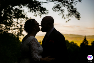 GA Couple Wedding Day Portrait | A photograph of the couple with the mountain landscape in the background