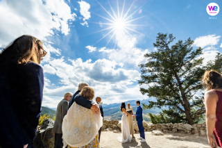 Lake Overlook Wedding Ceremony Image of a beautiful blue sky dominating the landscape