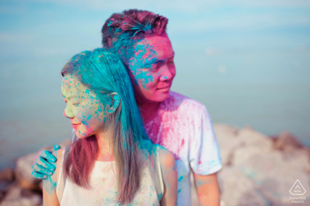 Malacca Engagement Photographer | Couple Portrait in Blue and Pink