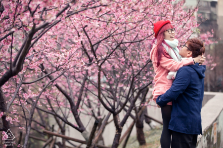 Malacca Engagement Photographer - pink Blossom blooming trees portrait