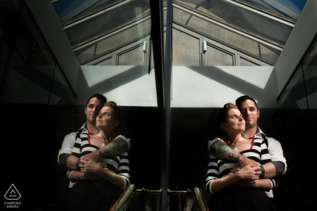A Rio de Janeiro couple embrace each other during their pre-wedding portrait session by a Brazil WPJA photographer
