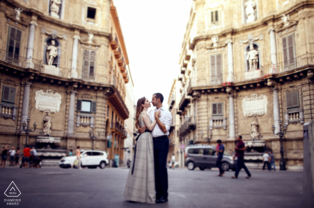 Sicily City engagement portraits in the streets