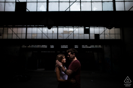 Victoria Australia engaged couple used an abandoned industrial building for their pre-wedding portrait