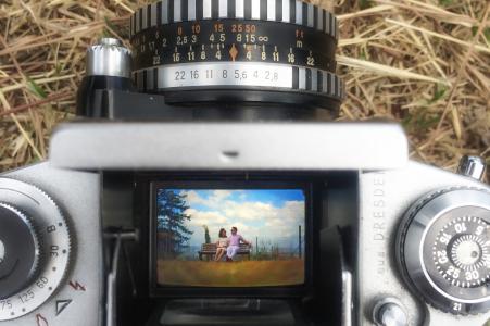 Zhejiang-Verlobungsporträt durch das obere Prisma einer Kamera