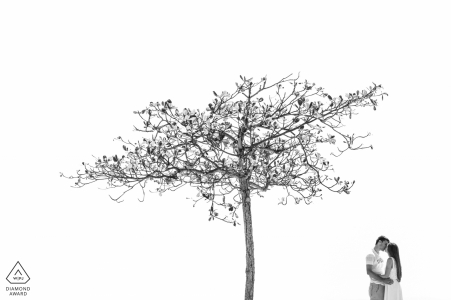 engagement session with a tree in Rio de Janeiro Brazil | b&w photography