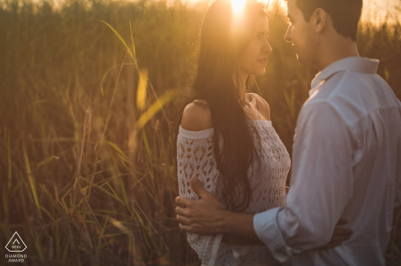 The warm afternoon sun in Brazil and the tall grasses worked well for this recently engaged nature loving couple