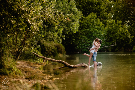 Madrid Spain Lakes make for wonderful scenic backdrops for pre-wedding photo sessions