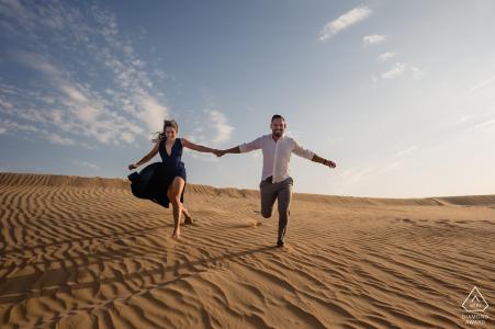 United Arab Emirates Desert Engagement Photo Shoot in the Sand