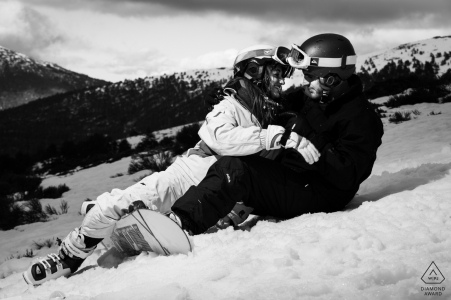 Awarded engagement wedding photography with snowboards and skis