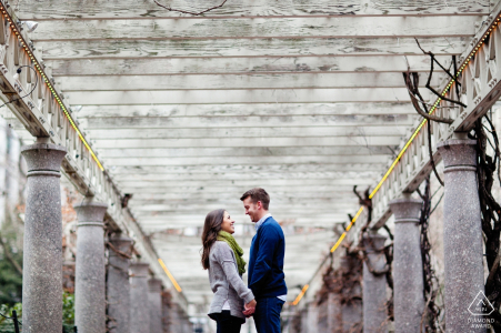 Rhode Island Couple with columns during engagement portraits