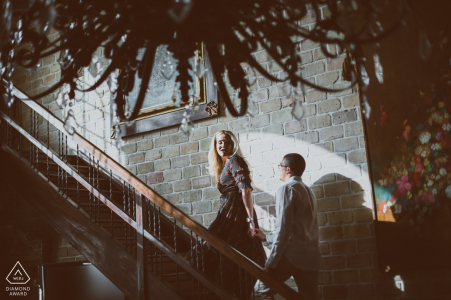 Boston engagement photos of a couple at night | Massachusetts photographer pre-wedding portrait session