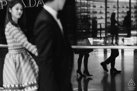 Glass reflections | black and white wedding engagement portrait of a couple | Washington DC pre-wedding pictures