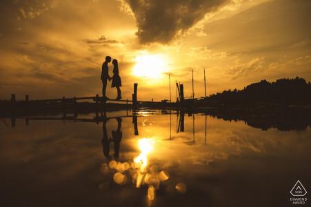 Ljubljana, Slovenia engagement photo session at sunset at the water | wedding photography