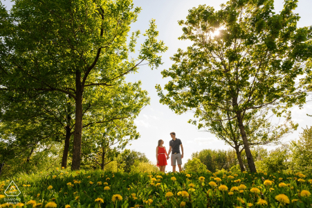Couple walking over hill of dandelions   Montreal engagement photographer