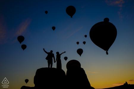 Cappadocia compromiso disparar con globos de aire caliente