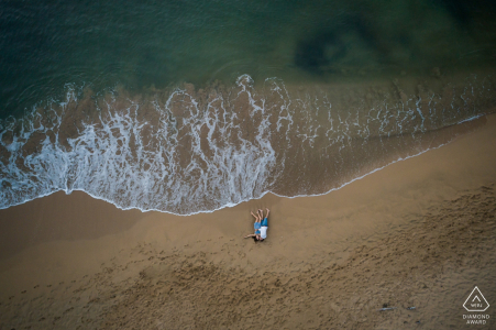 Wedding engagement portrait in French Caribbean by drone photography