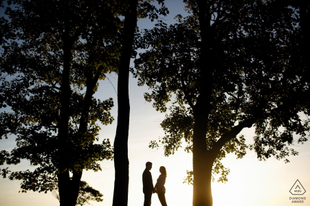 engagement pictures of a couple silhouetted between big trees   Rhode Island photographer pre-wedding photo shoot session