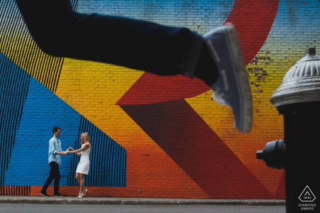 New York Engagement Photography Session for this couple seeking colors and action