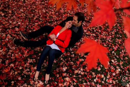 Photographie de fiançailles avec des couleurs d'automne à Denver avec des érables rouges