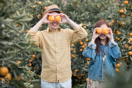 Malaysia engagement portraits of a couple having fun with fruit trees   Malacca photographer pre-wedding photographer pictures