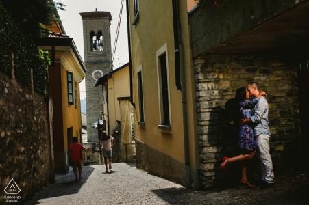 Como Lake engagement portrait of a couple on Como streets