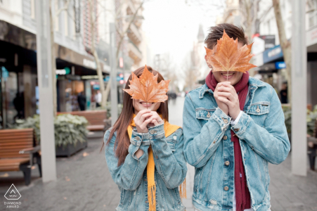 Wedding engagement photography with colorful fall leaves in Malaysia by Malacca engagement photographers