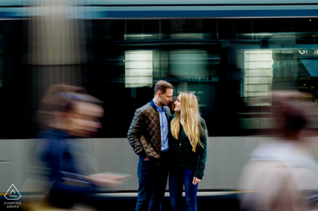 Athens pre-wedding portrait photography session with a couple next to the train    Attica photography