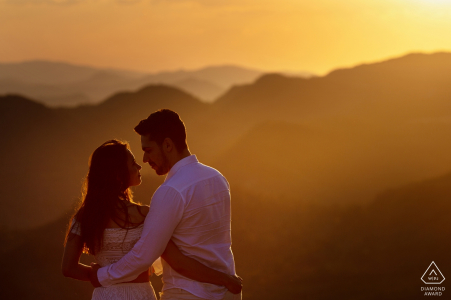 Sunset couple engagement portrait in the mountains of Goias