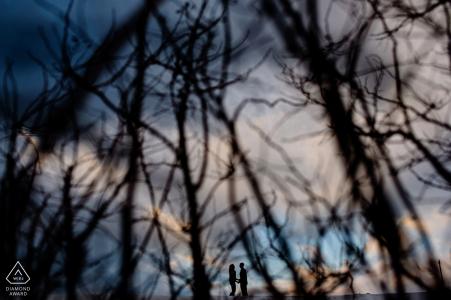 Vermont avant le mariage de l'image d'un couple engagé dans les arbres contre le ciel