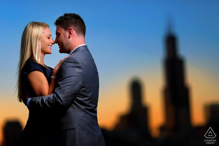Engagement session at Adler Planetarium, Chicago Illinois