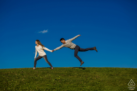 chicago Engagement Photo Shoot at the grassy park with blue sky