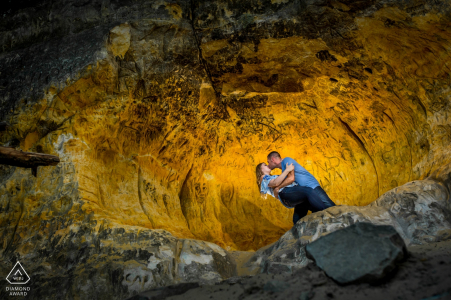 Having fun in the cave with a couple | Minneapolis Engagement Photographer
