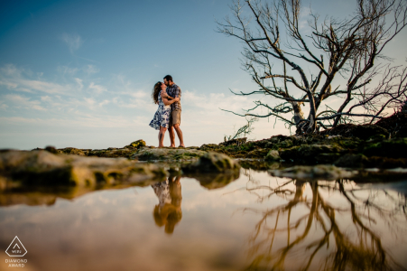 Scout Key, Florida reflection shot of an engaged couple in a tidal pool