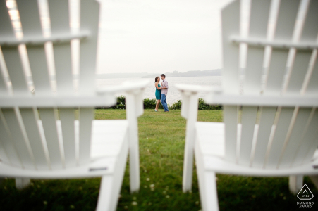 Newport, Rhode Island pre wedding portrait of a Couple between chairs