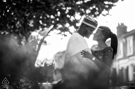 England and West London engagement photo in b&w