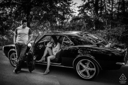 Edmonton, AB, Canada - Muscle Car Engagement Portraits in Black and White