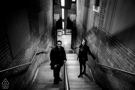 London engagement shoot St Pancras station stairs in black and white