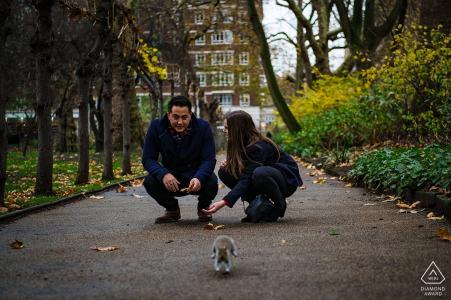 London park engagement shoot featuring a squirrel!! England Engagement Photographer