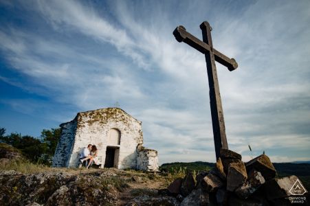 The cross, the couple and the church - Sofia Engagement Photographs