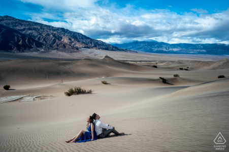 Death Valley engagement session in the hot desert sand for pre-wedding portraits