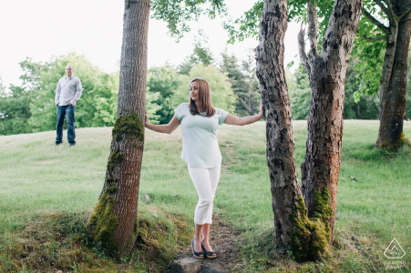 Engagement Session in Western Washington - Beautiful couple in trees