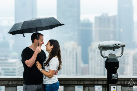 Rainy engagement at Mount-Royal lookout - Canada