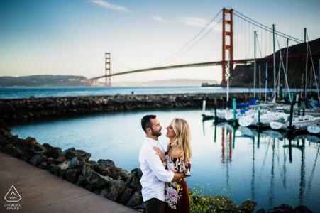 Lovely couple by Golden Gate Bridge - California Engagement Photograph