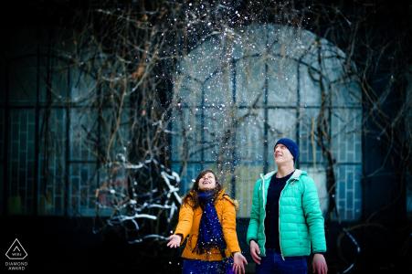 Sofia, Bulgaria pre-wedding portrait session - Snowy Love